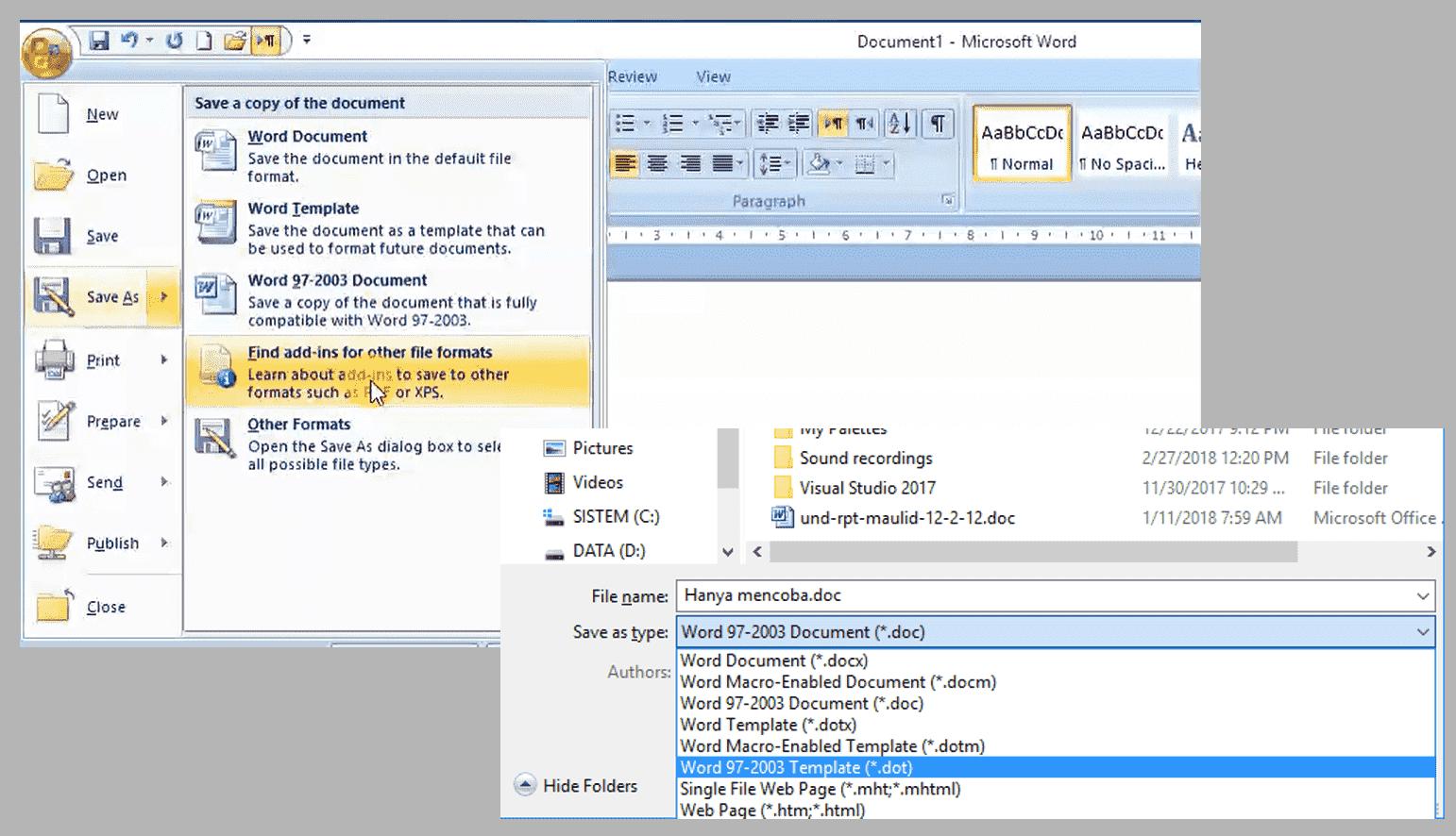 cara membuat file pdf pada word 2007
