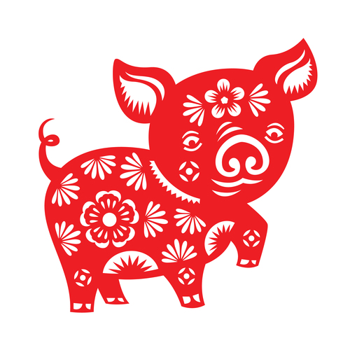 2019 Happy Chinese New Year with Pig paper cutting art vector free vector file