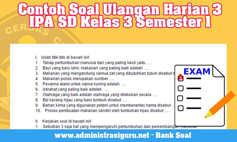Contoh Soal Ulangan Harian 3 IPA SD Kelas 3 Semester 1