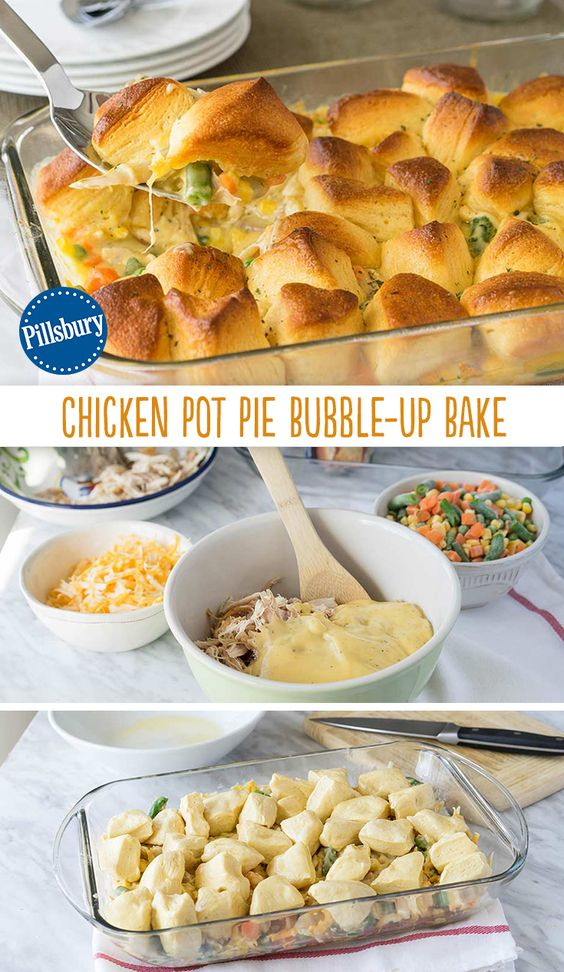 Chicken Pot Pie Bubble-Up Bake #chicken #chickenrecipes #potpie #bubble #dinner #dinnerrecipes #dinnerideas