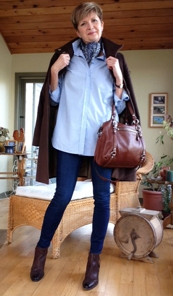 Max Mara coat, Equipment shirt, Paige skinny jeans, Paul Green boots, Coach bag