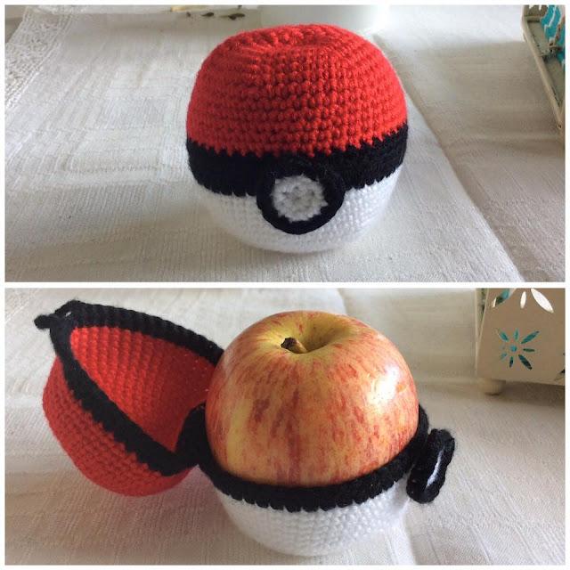 Virkat äppelfodral pokemonboll