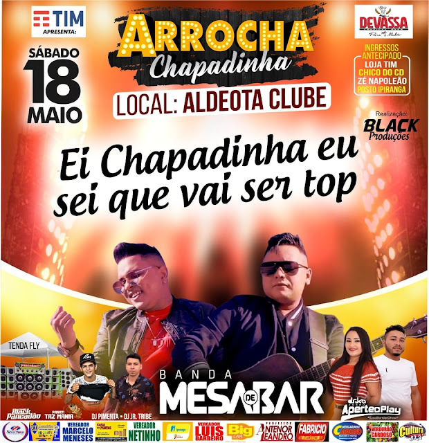 Chapadinha | Banda Mesa de Bar neste sábado (18) no Aldeota Clube
