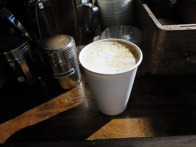 Latte at Woodstock General in Manhattan