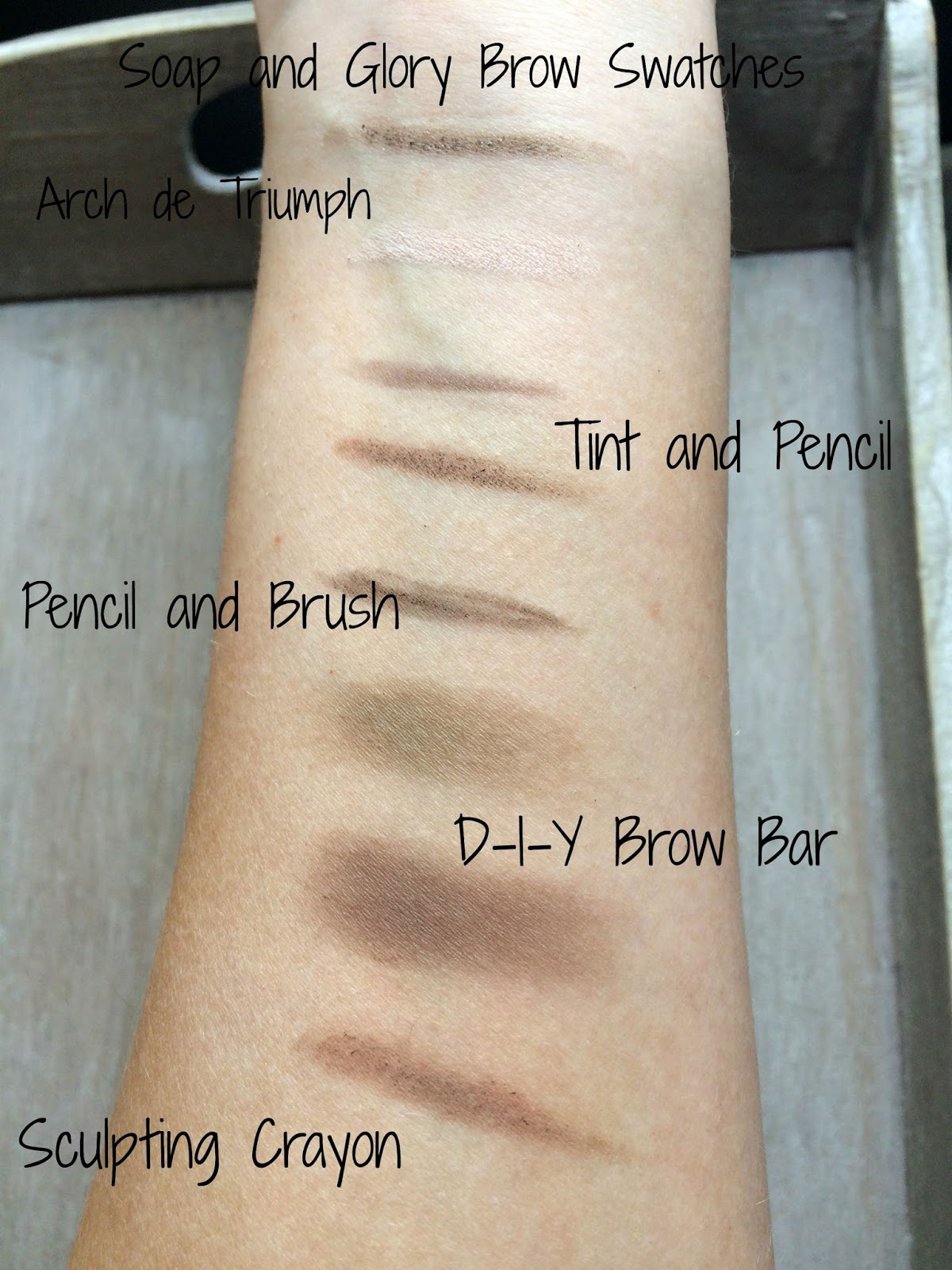 Soap and Glory brow products swatches archery d-i-y brow bar arch de triumph