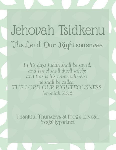 Frog's Lilypad: Jehovah Tsidkenu - The Lord Our Righteousness. Jehovah Tsidkenu - The Lord Our Righteousness. No matter how hard we try, we can't hide our sins. But through the blood of Jesus we have our sins forgiven.