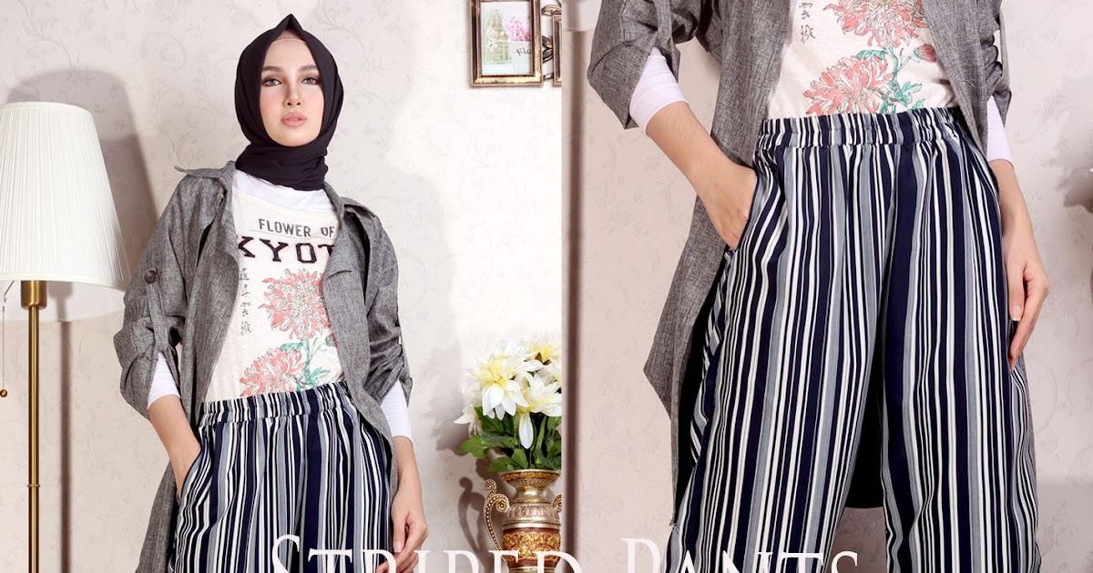 Celana Kulot Panjang Striped Pants Almira 081372507000 Griya Raditya