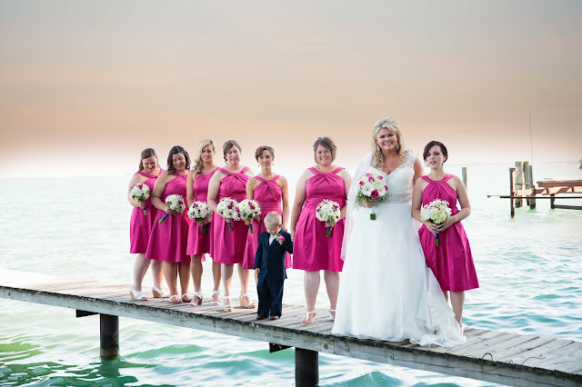 bridesmaids on pier at new baltimore waterfront wedding