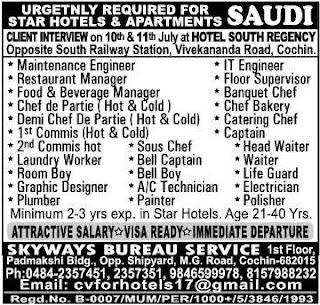 Star Hotels jobs in Saudi Arabia July 2017