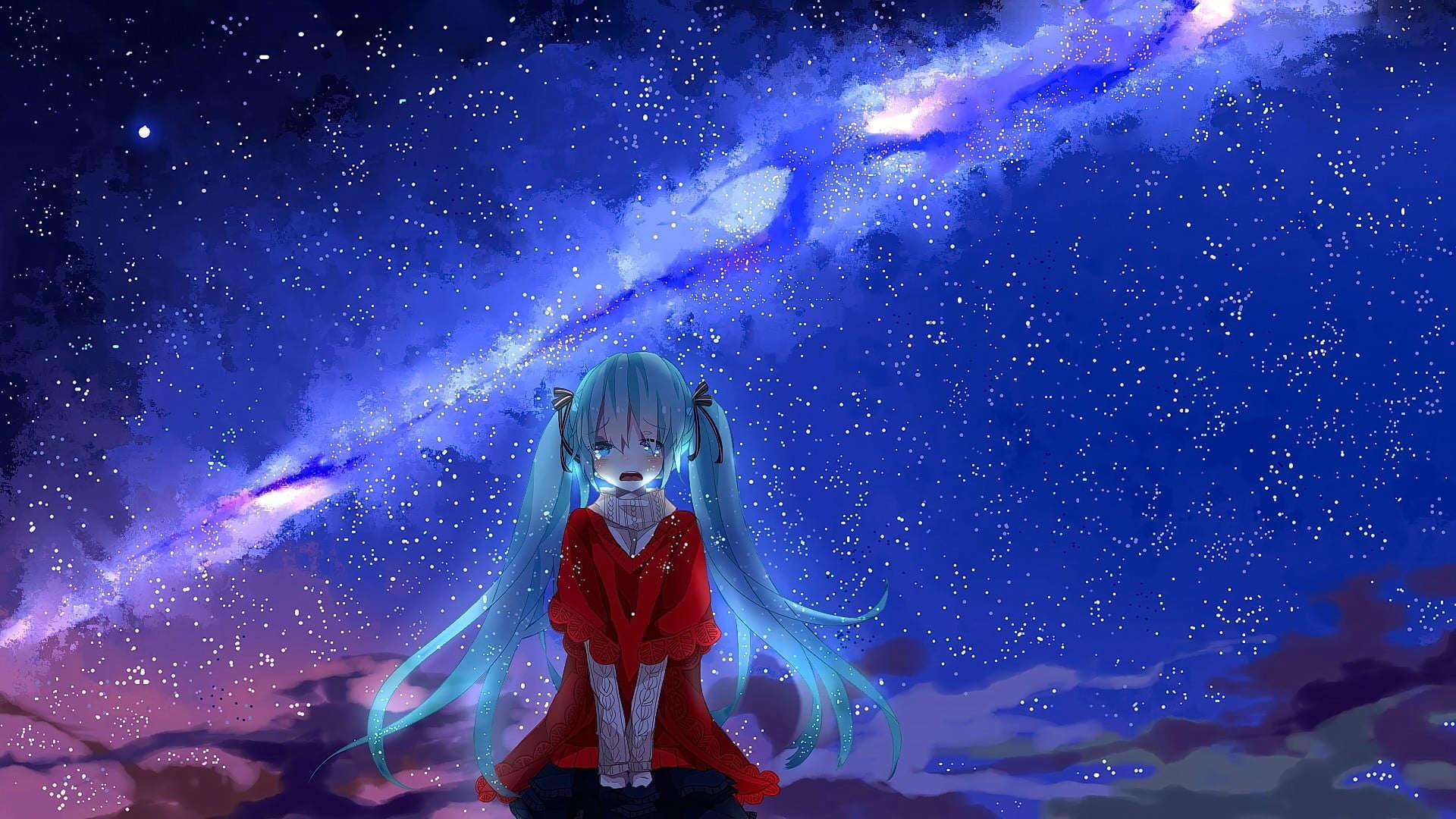 Anime sedih sendiri wallpaper