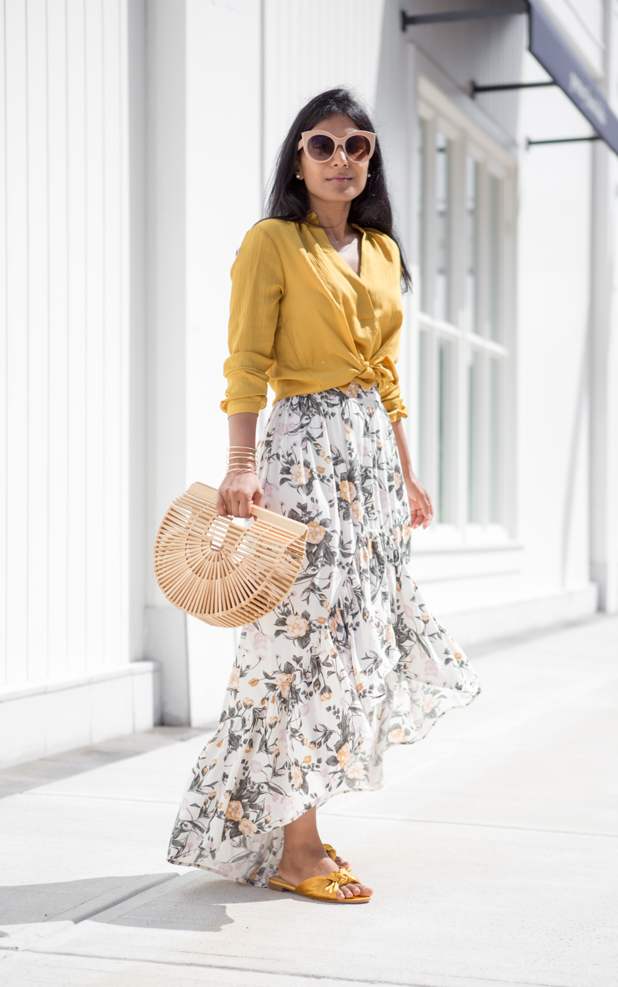 ruffles, tiered, maxi skirt, petite fashion, petite style, petite-friendly, petite maxi skirt, satin sliders, satin sandals, yellow, gold, affordable style, trendy, feminine style, colorful style, style tips, indian blogger