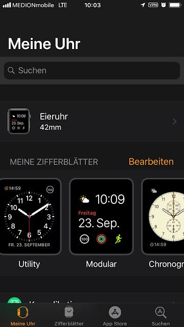 Meine Uhr wird angezeigt, darunter der Name der Watch: Eieruhr 42mm. Dann die Zifferblätter Utility, Modular und Chronograph.