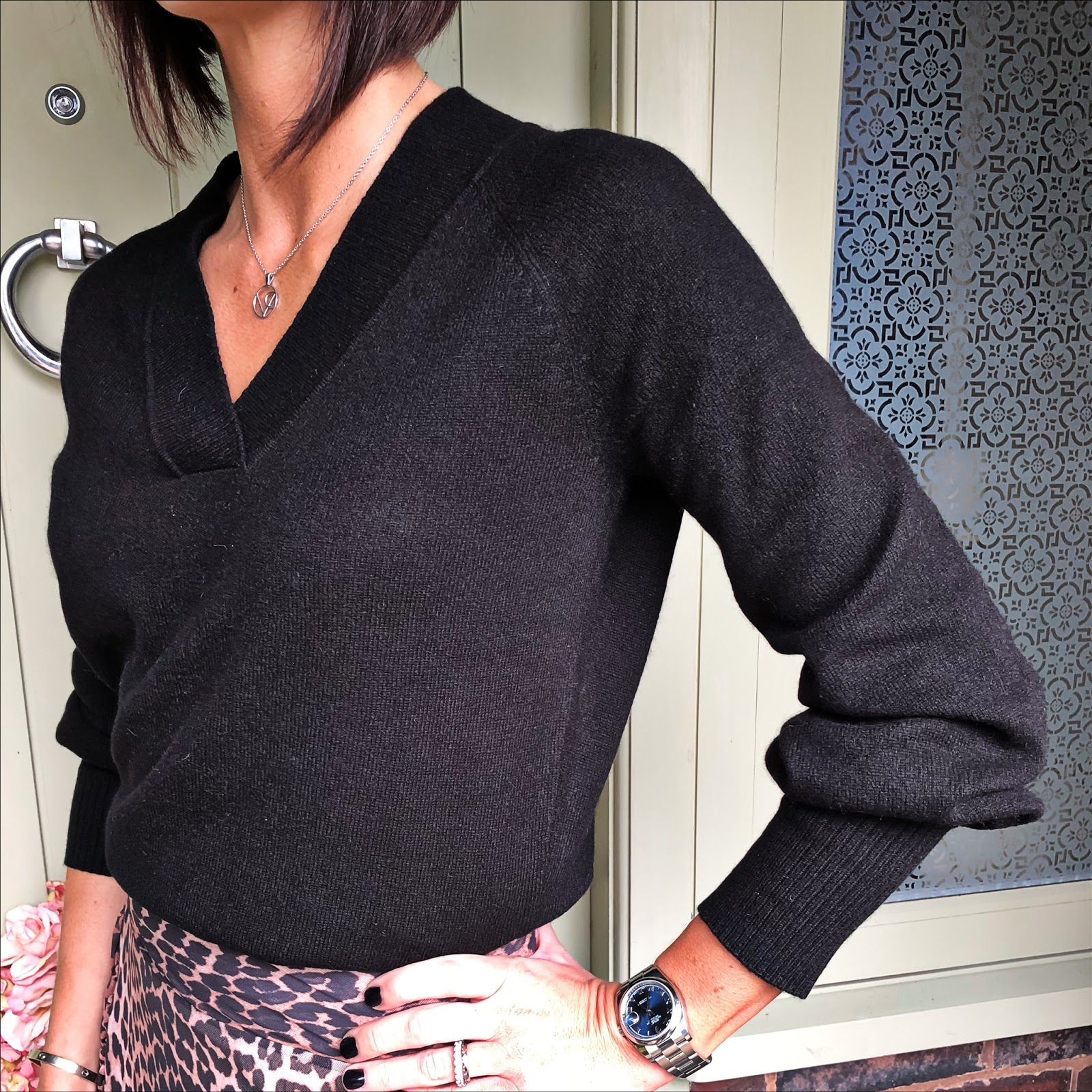 my midlife fashion, house of fraser, biba cashmere v neck jumper