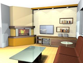 Hiša v Ponikvi - idejna zasnova za dnevno sobo.