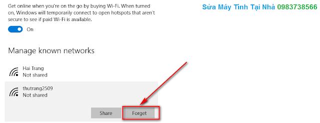 Cách xóa mạng Wifi đăng nhập trên Windows 10