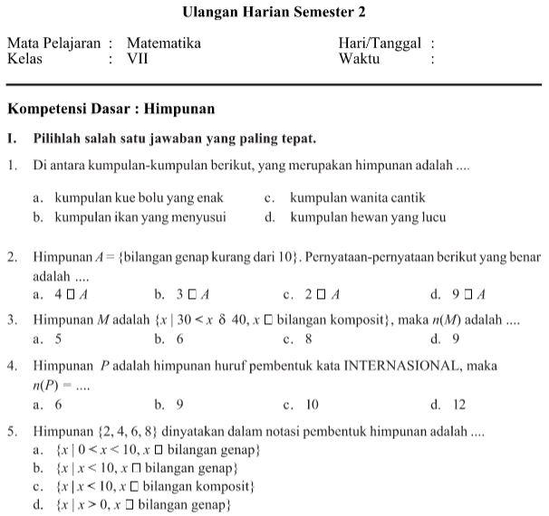 Soal Ulangan Harian Matematika Kelas 7 SMP/ MTs  Semester 2 Tema Himpunan