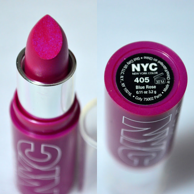 NYC Blue Rose Lipstick packaging and showing the bullet