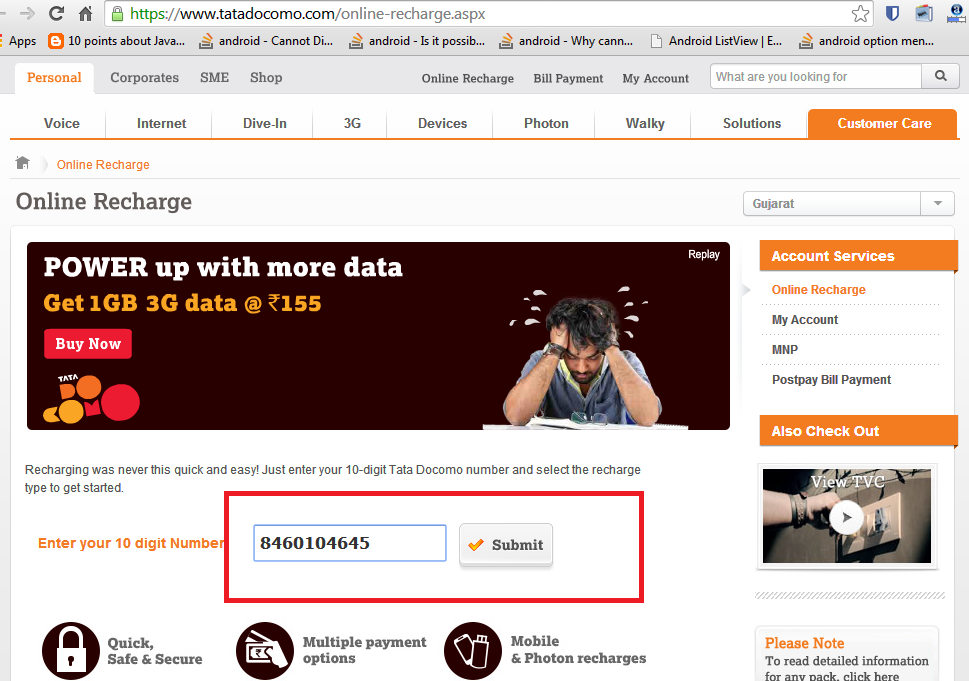 To Check and Activate internet plan for Tata Docomo step 1