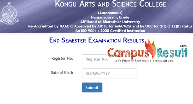 Kongu Arts & Science college UG/PG results-kasc ac in/eseresults