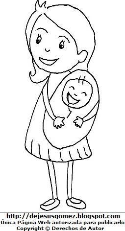 Dibujo de una madre con su bebé para colorear pintar imprimir. Dibujo de madre con bebé hecho por Jesus Gómez