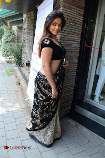 Actress Neetu Chandra Stills in Black Saree at Designer Sandhya Singh's Store Launch  0036.jpg