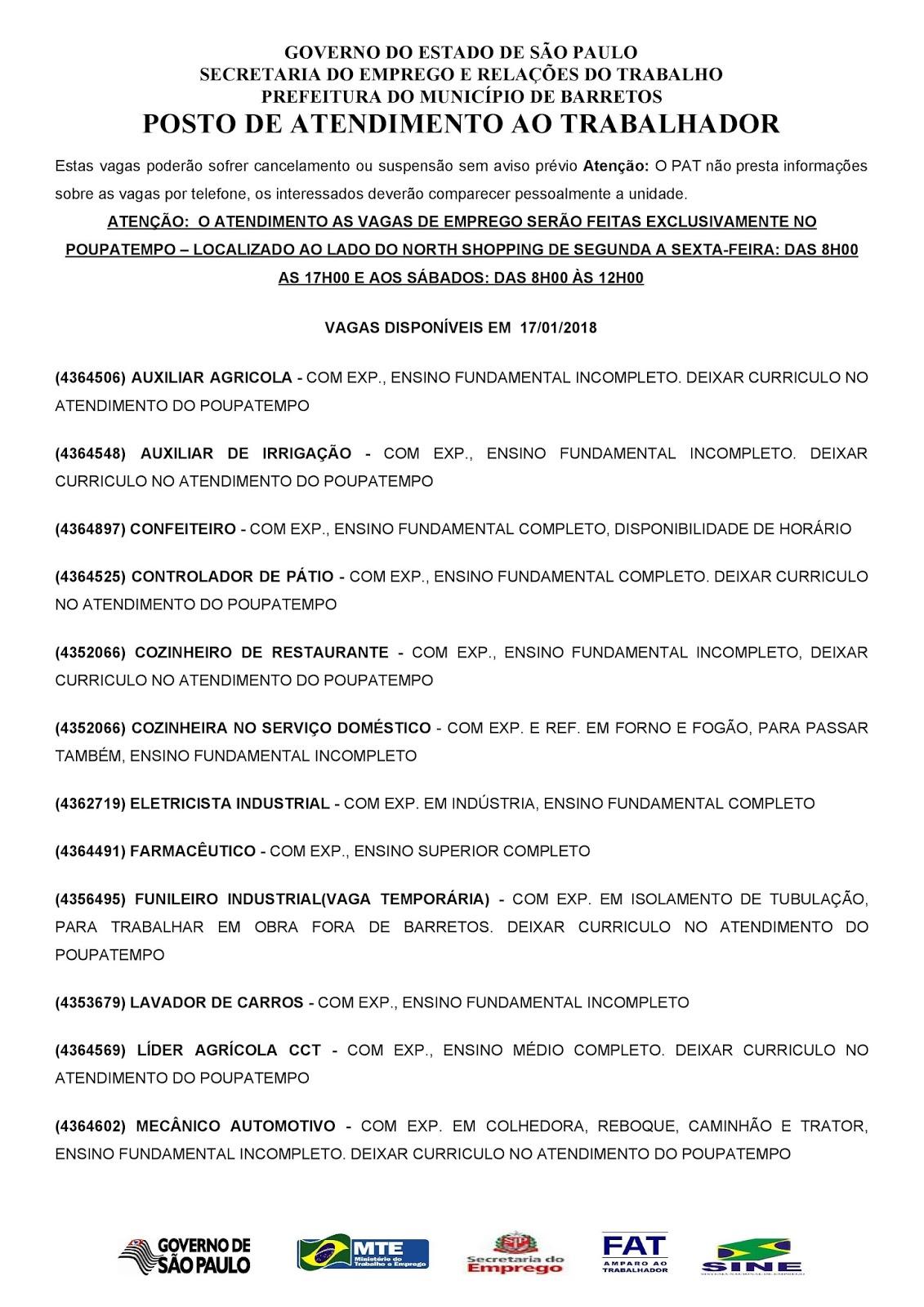 VAGAS DE EMPREGO DO PAT BARRETOS-SP PARA 17/01/2018 QUARTA-FEIRA - PAG. 1