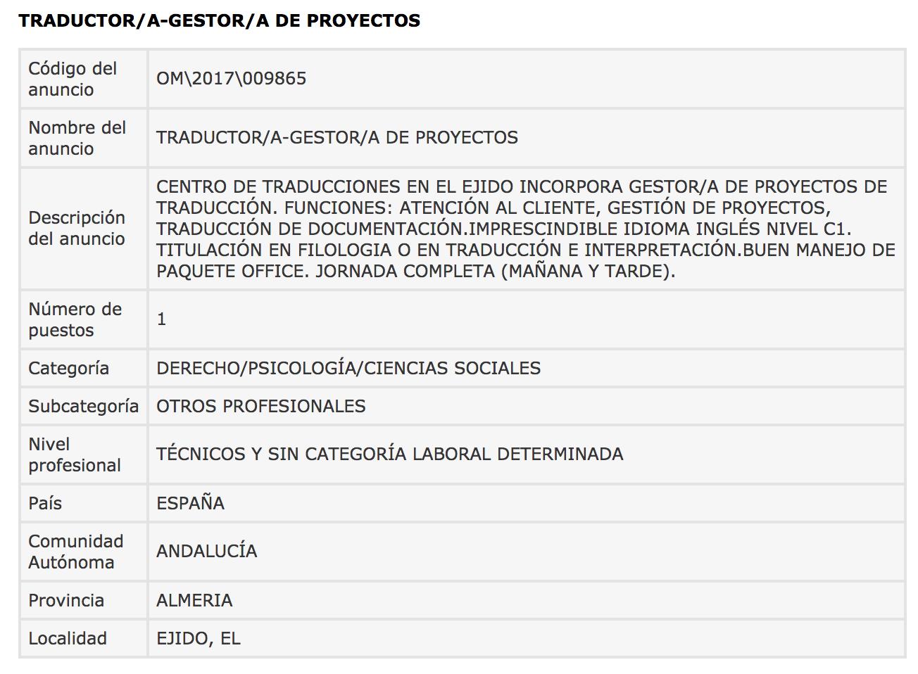 Ofertas de Empleo en España: Traductor/a Gestor/a de ... - photo#18