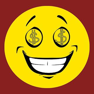 icono de la avaricia: una carita sonriente con el símbolo del dólar en los ojos