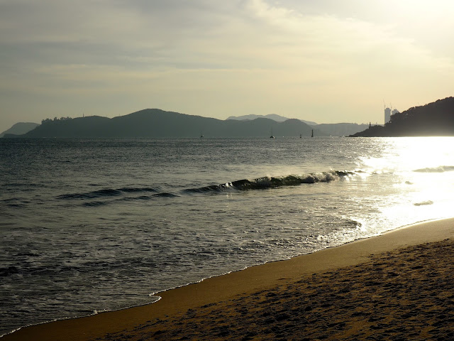 Afternoon sunlight on waves at Haeundae beach, Busan, South Korea