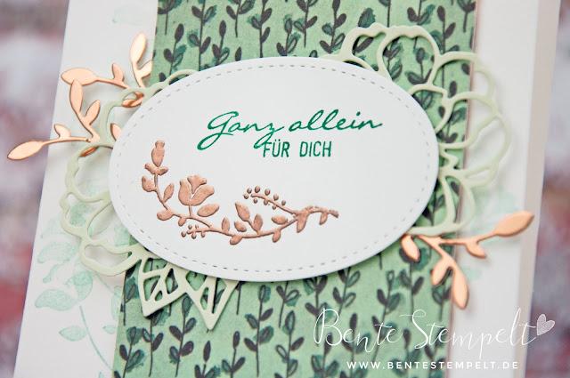 Stampin' Up! Bente Stempelt Gartenzauber Blüten Blätter und Co Ast Zweig Blumen Rosen Frühlingsimpressionen DSP Designer Papier geteilte Leidenschaft Thinlits Framelits Kupfer Embossing Lindgrün