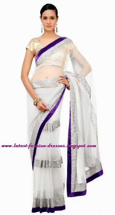 white fancy saree