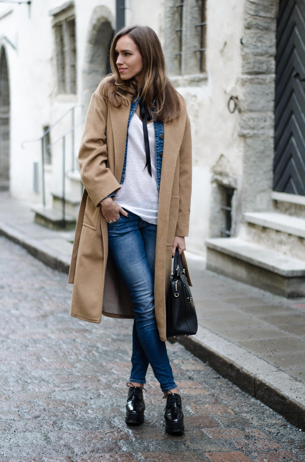 kristjaana mere camel coat platform shoes casual winter outfit
