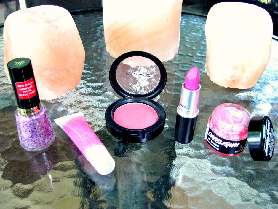 five-pink-products, revlon, lancome, mac-cosmetics, lush-cosmetics