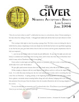 In June of 1994, Lois Lowry delivered a speech when she accepted her Newbery Award.  In this 8-page speech, she recounts a number of memories from her life that led her to write portions of The Giver. The memories are meaningful and deep and will offer a thoughtful conversation with students after they've finished reading The Giver.