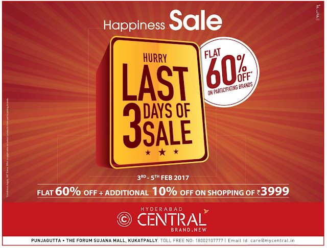 Flat 60% off in Central only for 3 days | February 2017 discount offer