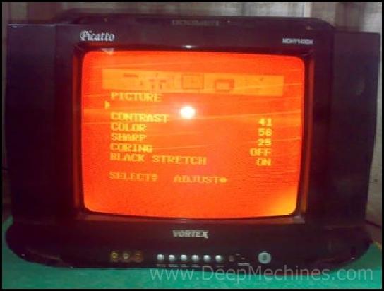 """TV VORTEX 14"""" Picatto MHDY 143DX Kerusakan Gambar Siaran Blanking Merah"""