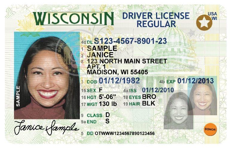 Fake id trainers new wisconsin driver license and ids for Wisconsin drivers license template