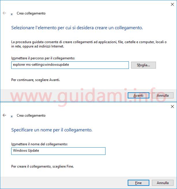 Windows 10 schermate finestra Crea collegamento