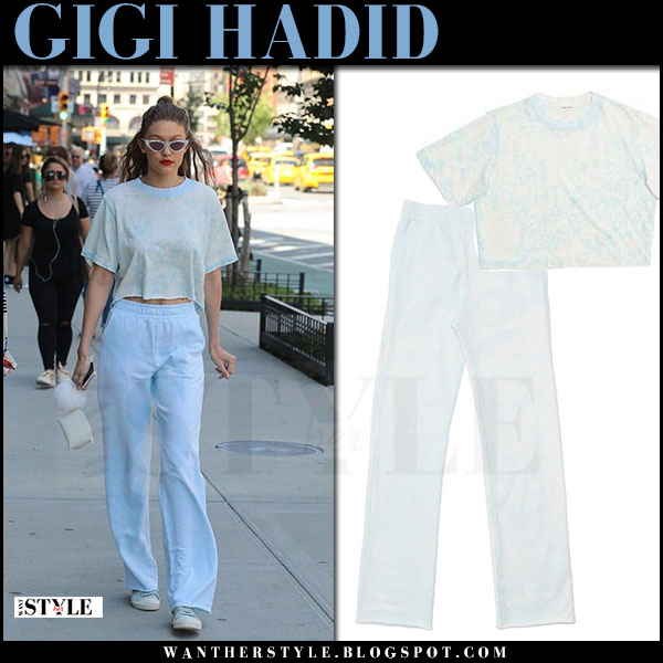 Gigi Hadid in light blue crop top and blue trousers cotton citizen what she wore june 25 2017