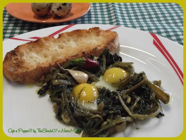Immagine della ricetta uova di quaglia in nido di cicoria e bieta selvatiche