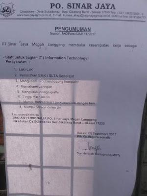 brosur lowongan kerja PO Sinar Jaya