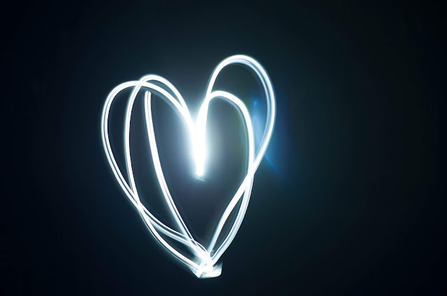 A light painting of a white heart