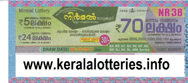 Kerala Lottery Nirmal NR-38 on 06-10-2017