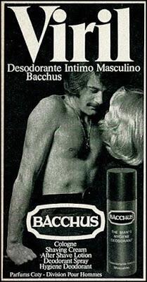 Propaganda do Desodorante Íntimo Masculino Bacchus nos anos 70: virilidade masculina em destaque.