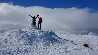 Henri and Valerie on the summit of Ben MacDui the 2nd highest peak in the UK