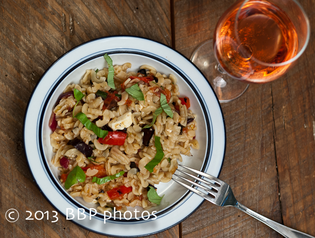 Grilled Ratatouille Pasta, plated, served with a lovely glass of Rosé