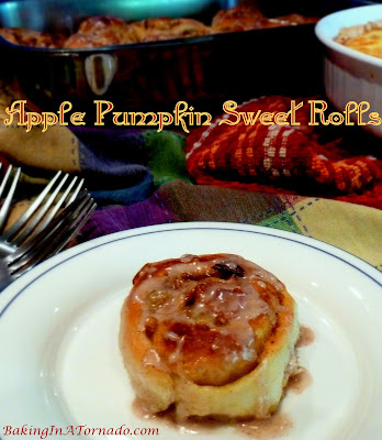 Apple Pumpkin Sweet Rolls, a favorite breakfast treat with added seasonal flavors. | Recipe developed by www.BakingInATornado.com | #recipe #breakfast