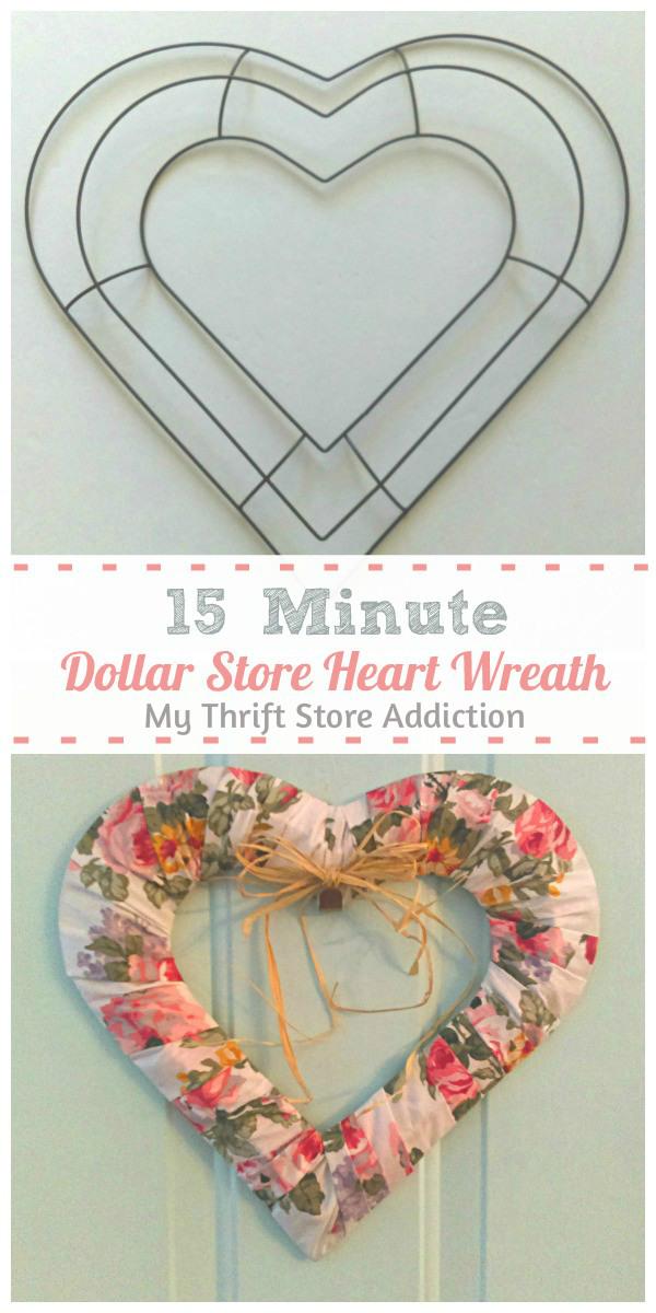 15 minute dollar store heart wreath