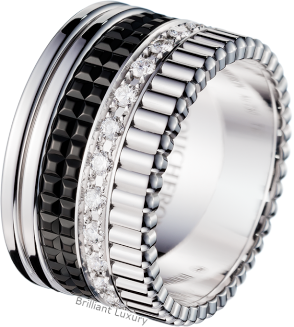 Brilliant Luxury♦Boucheron Paris Quatre Black Edition diamond large ring