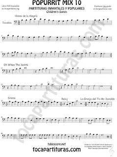 Mix 10 Partitura de Trombón y Bombardino Himno de la Alegría. Oh When the Saints, Sirena, Reloj y La Granja del Tio Gilito Sheet Music for Popurrí Mix 10 Trombone and Euphonium